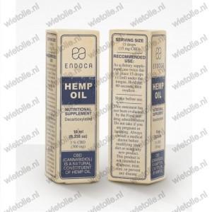 CBD-olie Endoca verpakking voor en achter