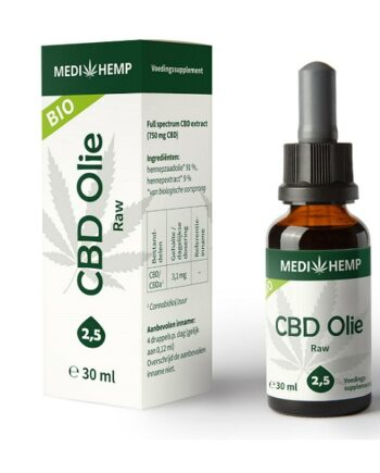 CBD olie Medihemp raw 30 ml 750 mg CBD