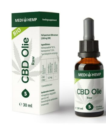 CBD olie Medihemp raw 30 ml 1500 mg CBD