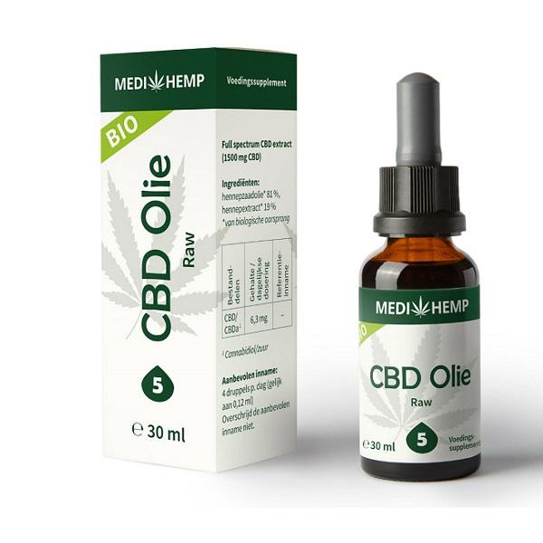CBD olie Medihemp raw 30 ml 1500 mg CBD