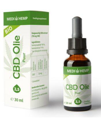 CBD olie Medihemp puur 30 ml 750 mg CBD