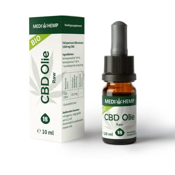 CBD olie Medihemp raw 10 ml 1800 mg CBD
